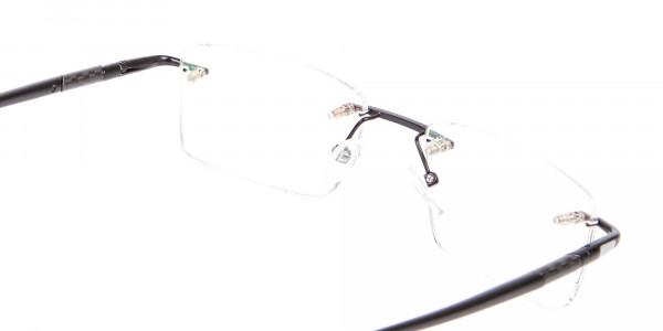 Latest Black Rimless Rectangular Glasses UK -5