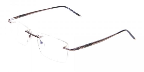 Gunmetal Rimless Lightweight Glasses Online-3