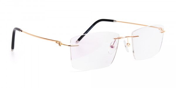 gold-rectangular-rimless-titanium-glasses-frames-2