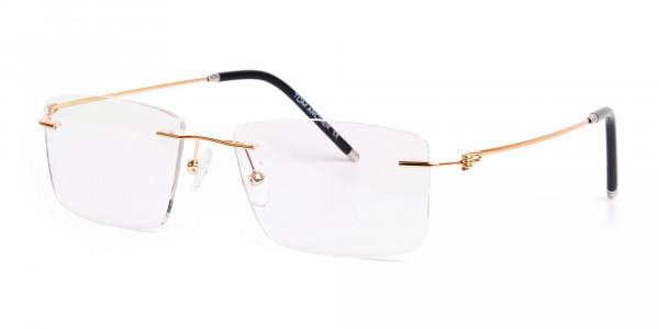 gold-rectangular-rimless-titanium-glasses-frames-3