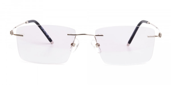 silver rectangular rimless titanium glasses frames-1
