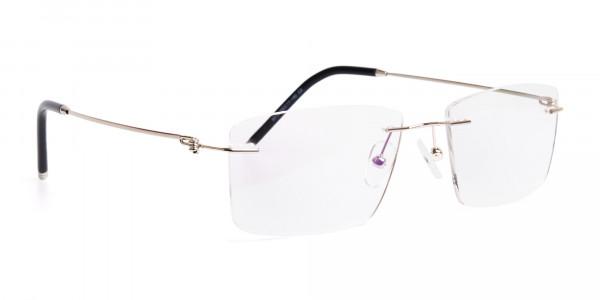 silver rectangular rimless titanium glasses frames-2