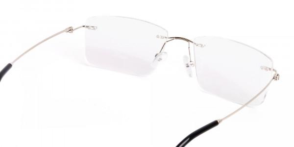 silver rectangular rimless titanium glasses frames-5