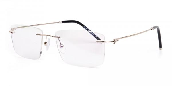 silver rectangular rimless titanium glasses frames-3