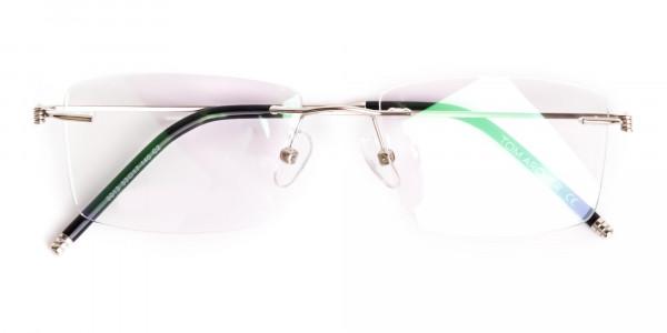 silver rectangular rimless titanium glasses frames-6