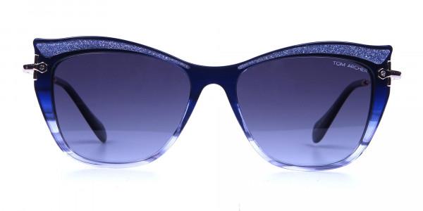 Embellished Blue Sunglasses Cat Eye
