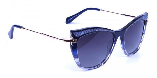 Embellished Blue Sunglasses Cat Eye -1