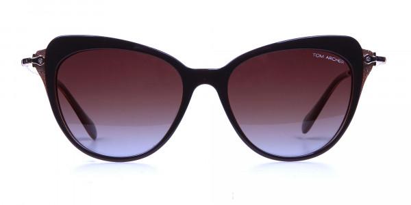 Jewelled Brown Cat Eye Sunglasses
