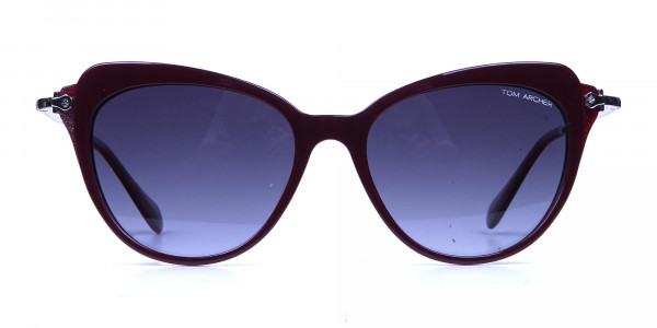 Red Sunglasses Cat Eye with Silver Temple