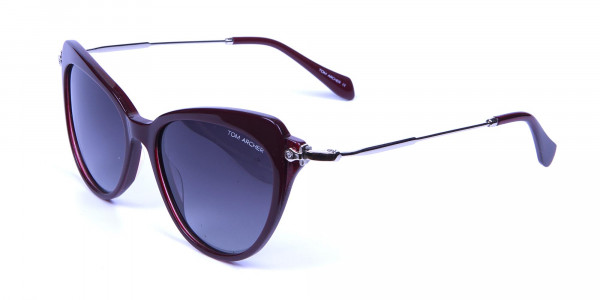Red Sunglasses Cat Eye with Silver Temple -2