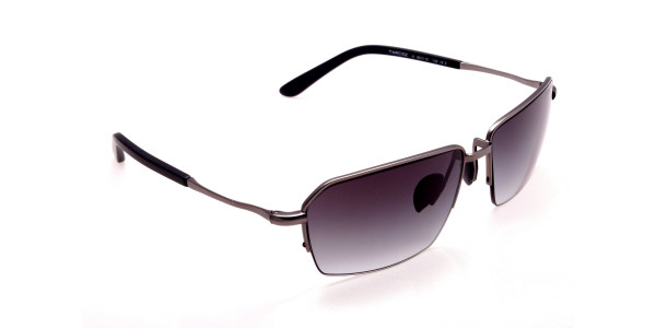 Cool Gunmetal Sunglasses in Half Rimmed Design - 1