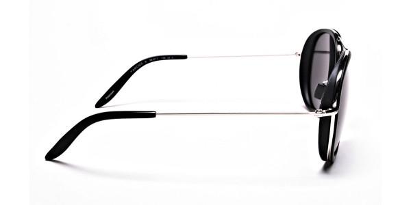 Black and Silver Multi-Material Sunglasses - 3