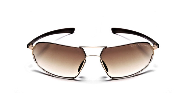 Wraparound Sunglasses in Brown and Gold