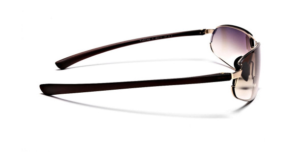 Wraparound Sunglasses in Brown and Gold - 3