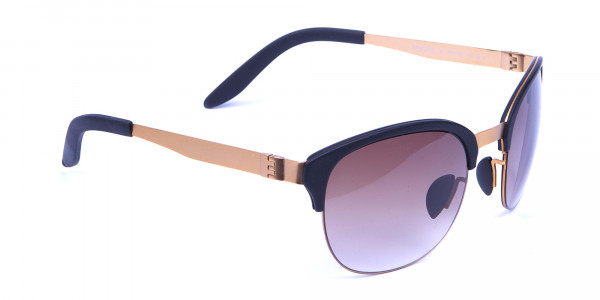 Gold Frame Sunglasses with Black Accents -1