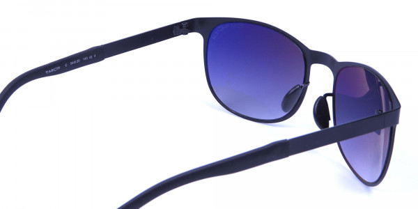 Black Round Metal Sunglasses -4