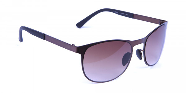 Brown and bronze sunglasses in Round Metal Frame-2