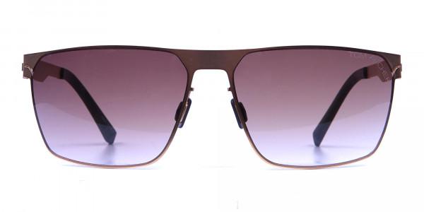 Gold Framed Rectangular Shaped Sunglasses