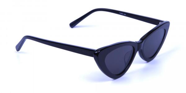 Black Narrow Cat-Eye Sunglasses- 1