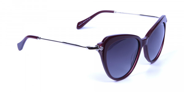 Red Sunglasses Cat Eye  with Silver Temple -1