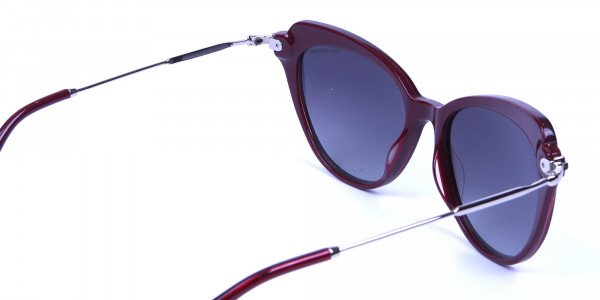 Red Sunglasses Cat Eye  with Silver Temple -4