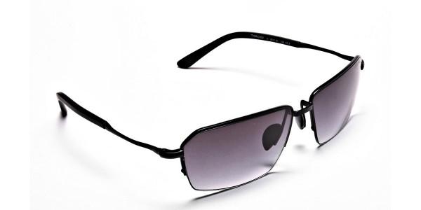 Black Half Rimmed Sunglasses - 1