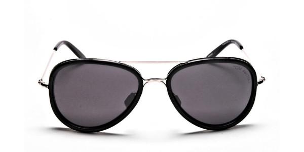 Black and Silver Multi-Material Sunglasses