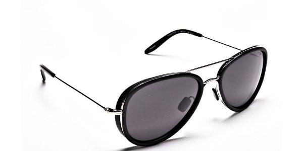 Black and Silver Multi-Material Sunglasses - 1