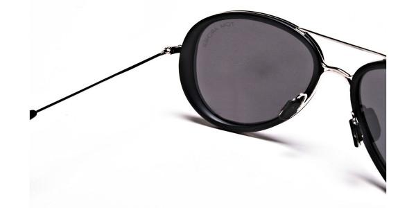 Black and Silver Multi-Material Sunglasses - 4