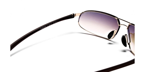 Wraparound Sunglasses in Brown and Gold - 4