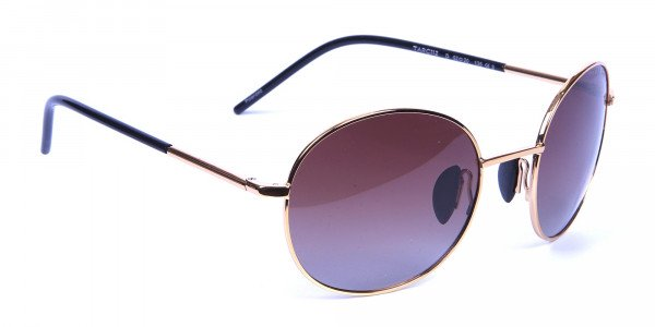 Gold Frame Round Sunglasses with Brown Lens -1
