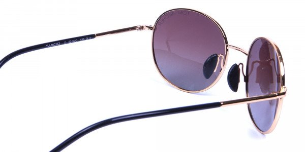Gold Frame Round Sunglasses with Brown Lens -4