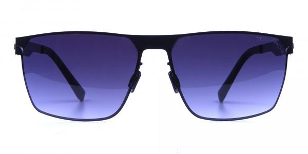 Sleek Bold Black Rectangular Sunglasses