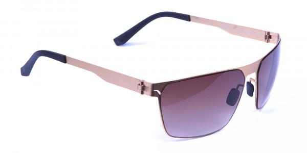 Gold Framed Rectangular Shaped Sunglasses -1