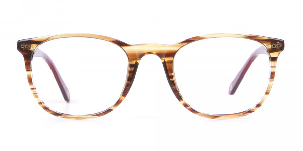 TB8120 Denny Round Glasses Brown Horn & Red-1
