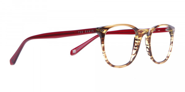 TB8120 Denny Round Glasses Brown Horn & Red-2