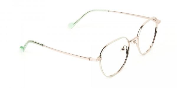 Gold Mint Green Geometric Glasses in Hexagon Shape - 2