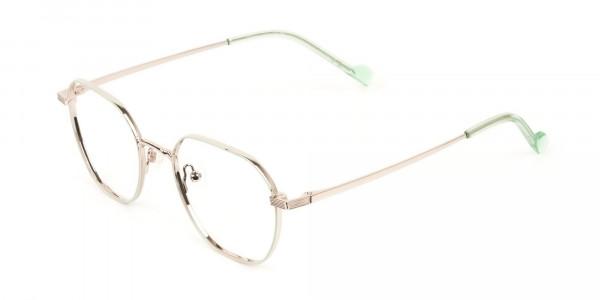 Gold Mint Green Geometric Glasses in Hexagon Shape - 3