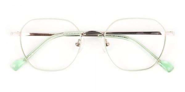 Gold Mint Green Geometric Glasses in Hexagon Shape - 6