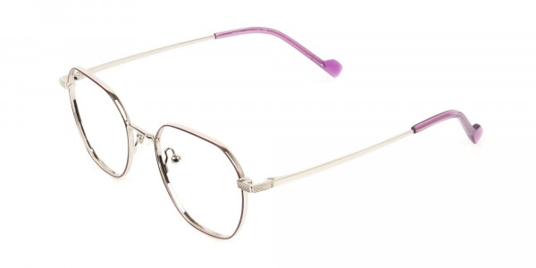 Silver Plum Purple Geometric Glasses in Hexagon Shape - 3