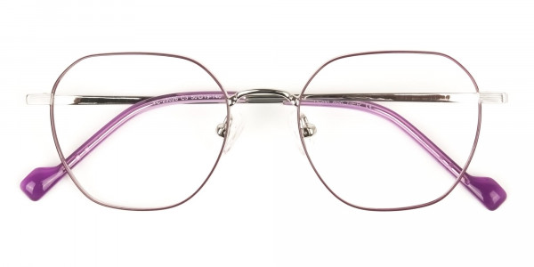 Silver Plum Purple Geometric Glasses in Hexagon Shape - 6