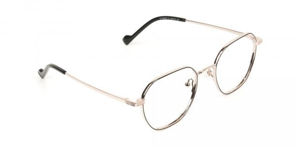 Gold Black Geometric Wayfarer Glasses in Metal - 2