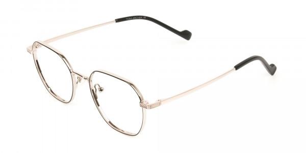 Gold Black Geometric Wayfarer Glasses in Metal - 3