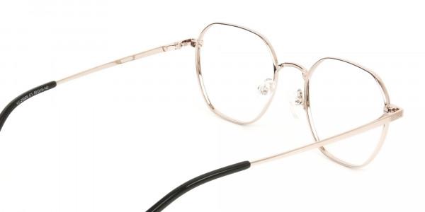 Gold Black Geometric Wayfarer Glasses in Metal - 5