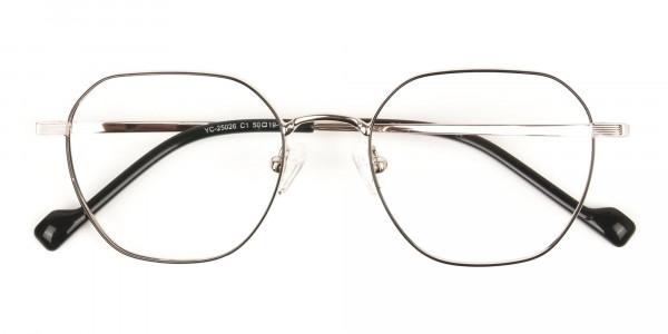 Gold Black Geometric Wayfarer Glasses in Metal - 6