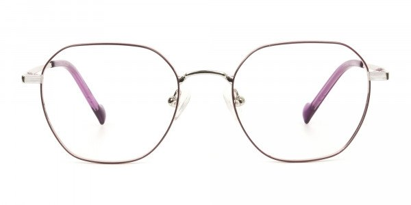 Silver Plum Purple Geometric Glasses in Hexagon Shape - 1