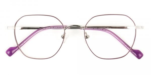 Silver Plum Purple Geometric Glasses in Hexagon Shape - 6