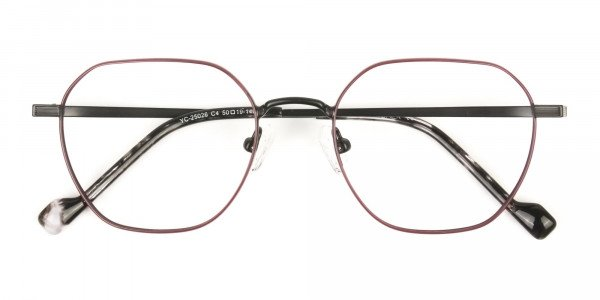 Black Red Geometric Glasses in Hexagon Shape - 6