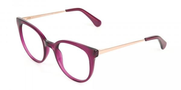 Magenta (Red/Purple) Round Cat-Eye Glasses-3