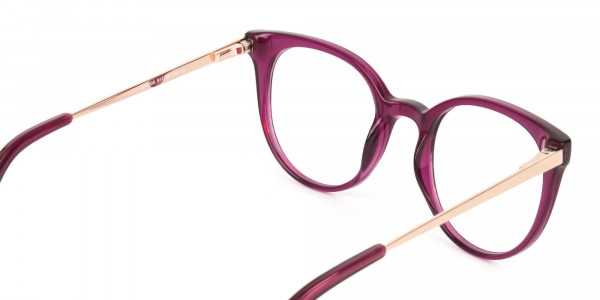 Magenta (Red/Purple) Round Cat-Eye Glasses-5